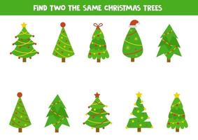 Find two the same Christmas fir trees. Logical worksheet. vector
