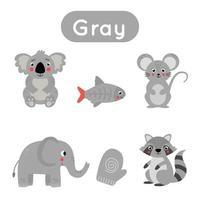 Learning gray color for preschool kids. Educational worksheet. vector