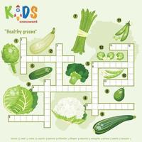 Healthy greens crossword puzzle vector