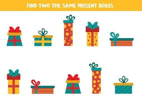 Find two the same Christmas gift boxes. Game for kids. vector