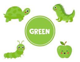 aprendiendo el color verde para niños en edad preescolar. hoja de trabajo educativa. vector