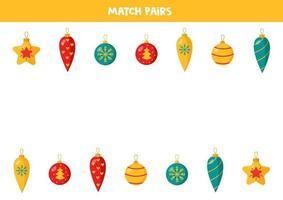 emparejar pares de adornos navideños. juego de lógica para niños. vector