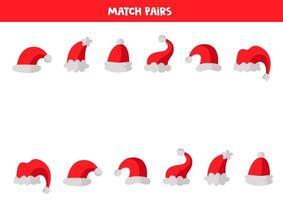 juego de lógica educativo para niños. emparejar pares de gorras, vector