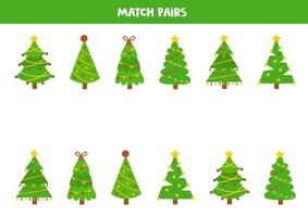 Matching game for kids. Find pair to each fir tree. vector