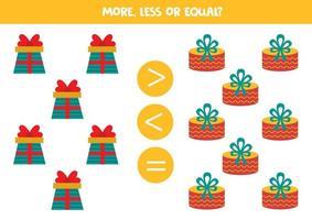 juego de matemáticas con cajas de regalo de dibujos animados. hoja de trabajo educativa. vector