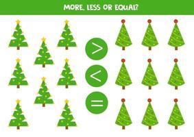 juego de matemáticas con abetos navideños. hoja de trabajo educativa. vector