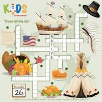 Thanksgiving day crossword vector