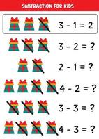 Subtraction with cartoon gift boxes. Math worksheet. vector