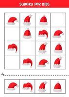 Educational Sudoku game with cartoon Santa Claus caps. vector