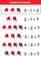 Math subtraction of cartoon Santa Claus hat. vector