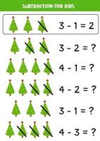 Subtraction game with cute cartoon fir trees. vector
