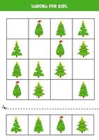 Sudoku game with cartoon Christmas trees. Learning for kids. vector