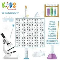 At the laboratory word search crossword vector