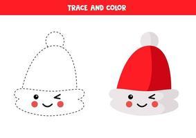 Traza y colorea el lindo sombrero kawaii de santa claus. vector