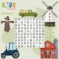 On the farm word search crossword
