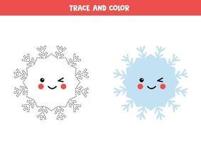 traza y color kawaii copo de nieve. práctica de habilidades de escritura. vector