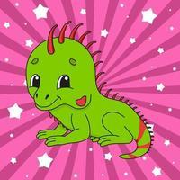 pegatina lindo animal iguana vector