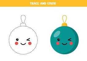 Traza y colorea la chuchería navideña kawaii. práctica de habilidades de escritura. vector