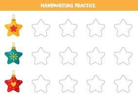 trazando líneas con estrellas navideñas. práctica de habilidades de escritura. vector