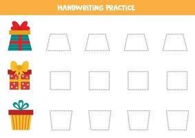 trazando líneas con cajas de regalo de dibujos animados. práctica de escritura a mano. vector