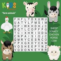 crucigrama de búsqueda de palabras de animales de granja vector