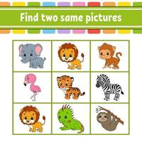Encuentra dos imágenes iguales de animales vector