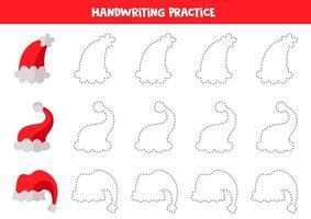 trazando líneas con gorros rojos de invierno. práctica de habilidades de escritura. vector