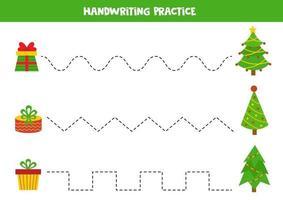 práctica de escritura a mano con abetos de dibujos animados y cajas de regalo. vector