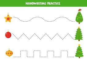 trazar líneas con bolas de navidad y abetos. vector