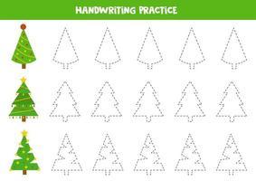 práctica de habilidades de escritura. trazar líneas con árboles de navidad. vector