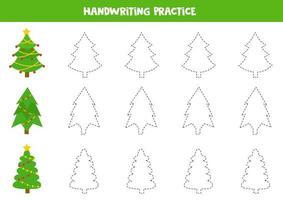 práctica de habilidades de escritura. trazando líneas con abetos navideños. vector