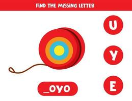 Find missing letter with cute cartoon yoyo. vector