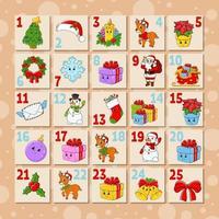 calendario de adviento para niños vector