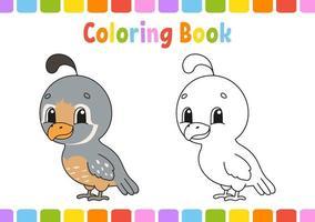 libro para colorear con codorniz vector