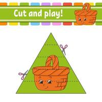 Cut and play game with basket vector