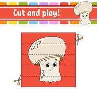 Cut and play game with mushroom vector