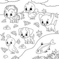 Coloring book with happy animals vector