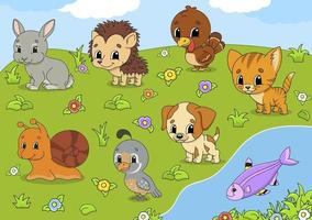 Cute animals outdoors vector