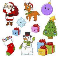 conjunto de pegatinas para Navidad vector