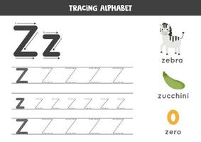 Z is for zebra, zero, zucchini. Tracing English alphabet worksheet. vector