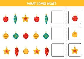What comes next with Christmas balls. Continue sequence. vector