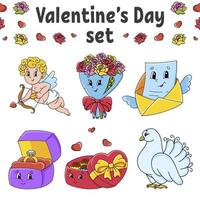 Set of cute cartoon characters. Valentine's Day clipart. Hand drawn. Colorful pack. Vector illustration. Patch badges collection. Label design elements. For daily planner, diary, organizer.