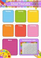 School timetable easter vector