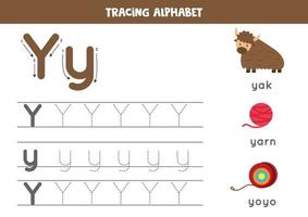 Tracing alphabet letter Y with cute cartoon pictures. vector