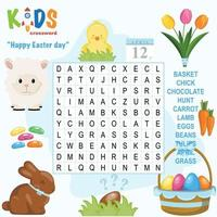 Happy Easter day word search crossword vector