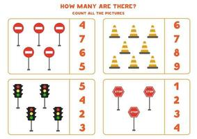 Counting game with traffic lights and signs. Math worksheet. vector