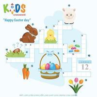 Happy Easter day crossword puzzle vector