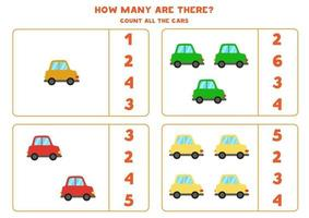 Counting game with cars. Math worksheet. vector