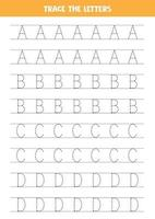 Tracing letters of English alphabet. Writing practice. vector