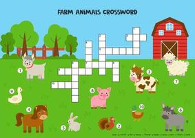 Crossword puzzle for kids with cute farm animals. vector